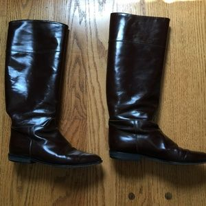 J Crew Brown Patent Leather Riding Boots